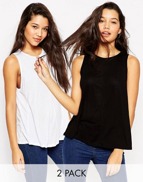 ASOS Swing Vest With Drape 2 Pack Save 10%