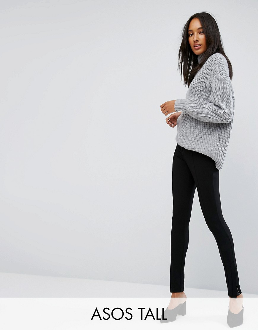 ASOS TALL Super High Waist Skinny Trouser with Ankle Zips - Black