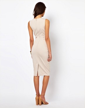 Image 2 ofASOS Midi Bodycon Dress With Leather Panels