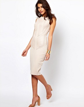 Image 4 ofASOS Midi Bodycon Dress With Leather Panels