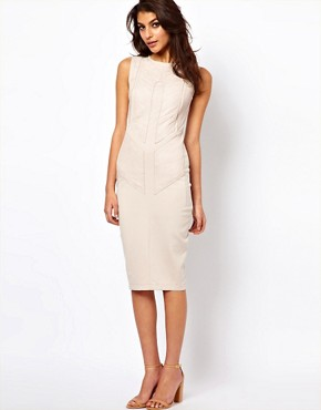 Image 1 ofASOS Midi Bodycon Dress With Leather Panels