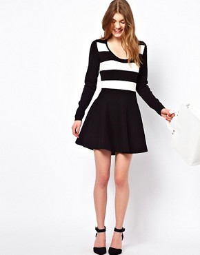 Image 4 ofOasis Stripe Detail Skater Dress