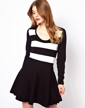Image 1 ofOasis Stripe Detail Skater Dress