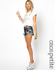 ASOS PETITE Denim Shorts In Bleach Wash With Lace Trim