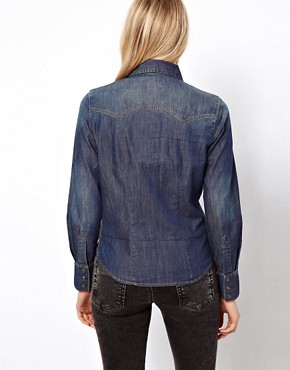 Image 2 ofASOS Denim Shirt in Dark Vintage Wash