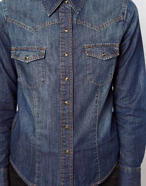 Image 3 ofASOS Denim Shirt in Dark Vintage Wash