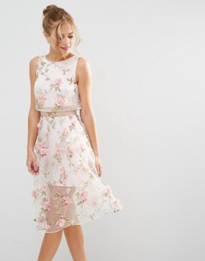 ASOS SALON 3D Floral Pink Crop Top Midi Dress