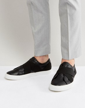 ASOS Trainers In Black With Elastic Straps