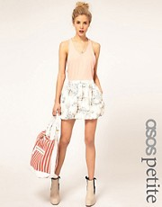 ASOS PETITE Puffball Mini Skirt in Scenic Print