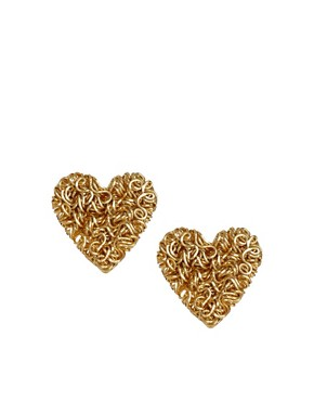 Image 1 ofASOS Squiggle Heart Stud Earrings