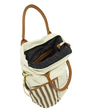 Image 2 ofPieces Earla Stripe Big Canvas Net Bag