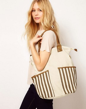 Image 3 ofPieces Earla Stripe Big Canvas Net Bag