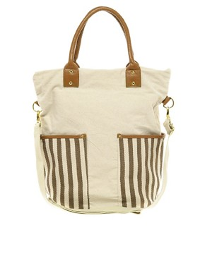 Image 1 ofPieces Earla Stripe Big Canvas Net Bag