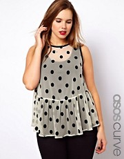 ASOS CURVE Top with Flocked Spots