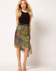 Traffic People Floral Dipped Hem Silk Skirt