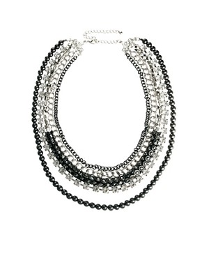 Image 1 ofKenneth Jay Lane Multi Strand Necklace with Chain and Rhinestone