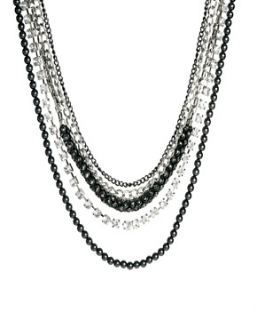Image 2 ofKenneth Jay Lane Multi Strand Necklace with Chain and Rhinestone