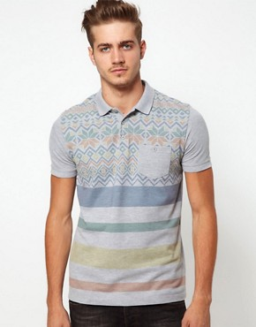 Image 1 ofASOS Polo With Fairisle Print And Stripe