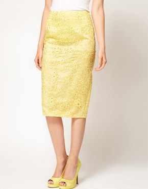 Image 4 ofASOS Pencil Skirt in Oversize Cutwork