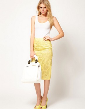 Image 1 ofASOS Pencil Skirt in Oversize Cutwork