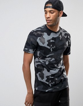 River Island Camo T-Shirt In Black