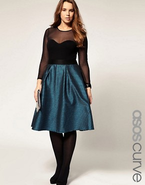 Image 1 ofASOS CURVE Midi Skirt In Brocade