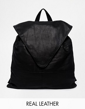Image 1 ofASOS Leather Backpack With Pointed Flap