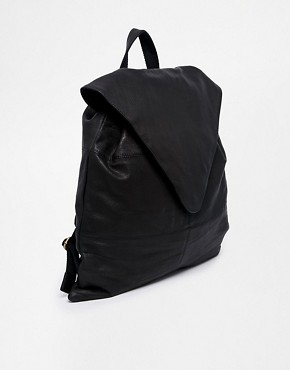Image 2 ofASOS Leather Backpack With Pointed Flap
