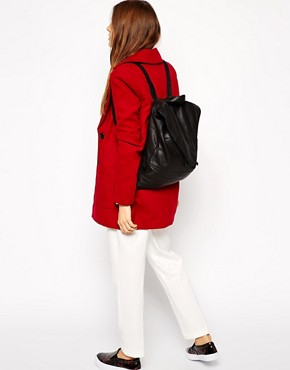 Image 3 ofASOS Leather Backpack With Pointed Flap