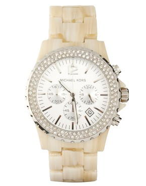 Image 1 ofMichael Kors Cream Oversized Chronograph Bracelet Watch