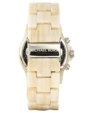 Image 2 ofMichael Kors Cream Oversized Chronograph Bracelet Watch