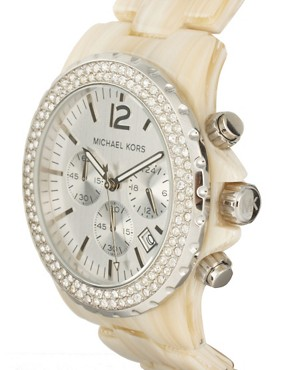 Image 4 ofMichael Kors Cream Oversized Chronograph Bracelet Watch
