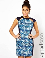 ASOS PETITE Exclusive Printed Bodycon Dress With Cut Out Neck Detail