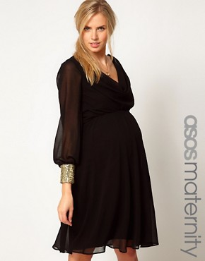 Image 1 ofASOS Maternity Midi Dress With Cowl Back And Embellished Cuffs