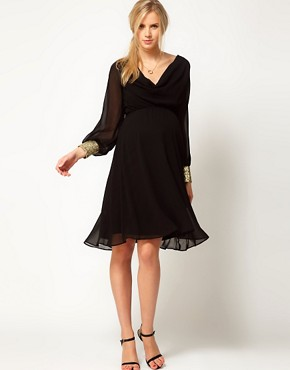 Image 4 ofASOS Maternity Midi Dress With Cowl Back And Embellished Cuffs
