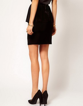 Image 2 ofMango Velvet Peplum Pencil Skirt