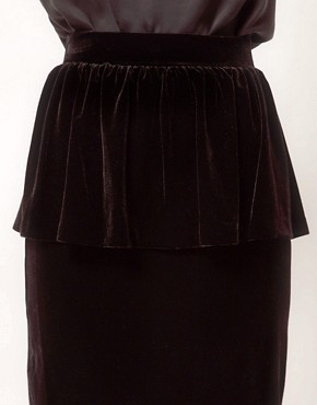 Image 3 ofMango Velvet Peplum Pencil Skirt