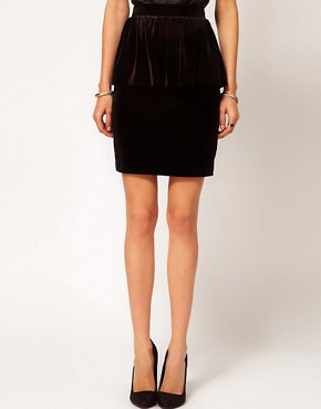 Image 4 ofMango Velvet Peplum Pencil Skirt