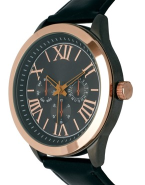 Image 3 ofASOS Gold &amp; Black Dial Watch