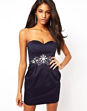 Elise Ryan Embellished Bandeau Tulip Dress