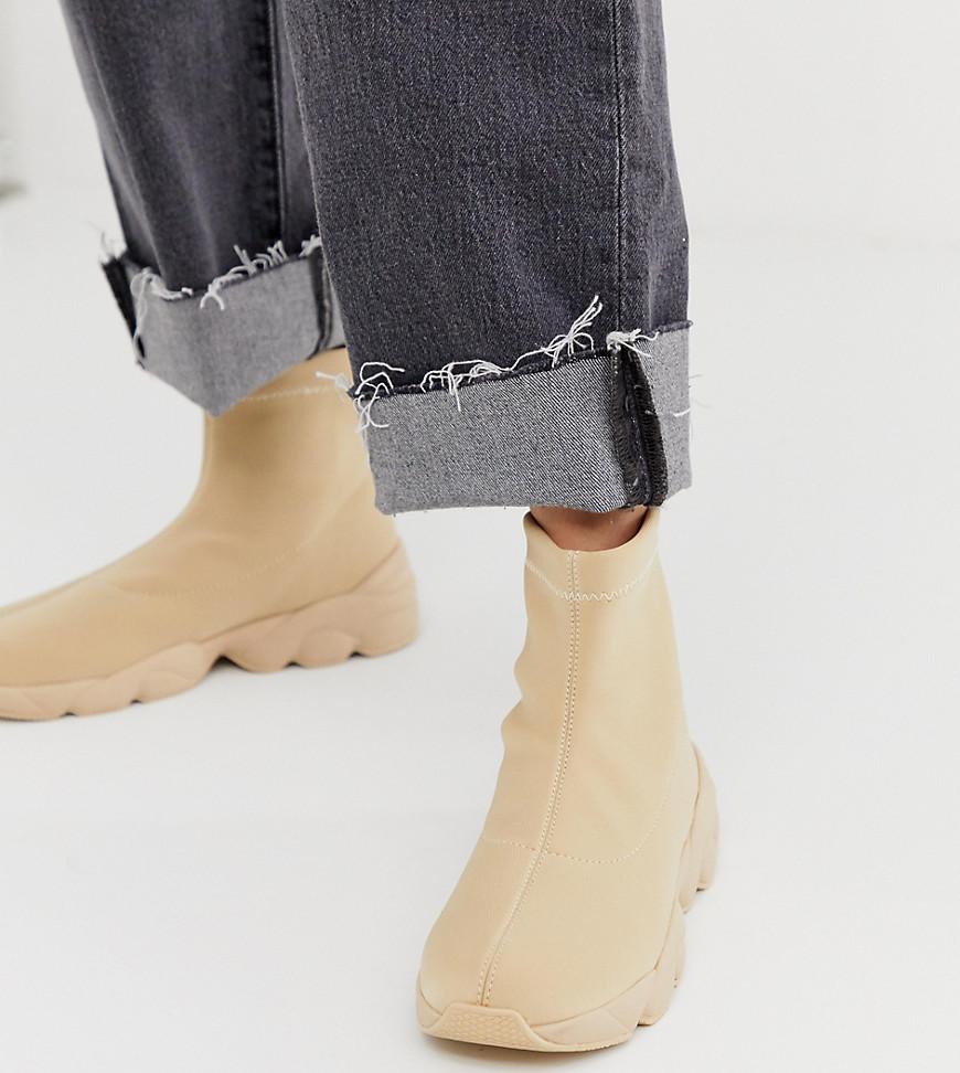 Monki - Baskets style chaussettes - Beige - Beige