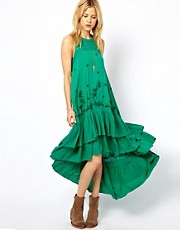 Free People Long Tiered Dress with Crochet Back Detail
