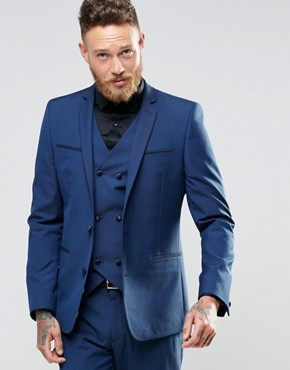 ASOS Slim Suit Jacket In Navy