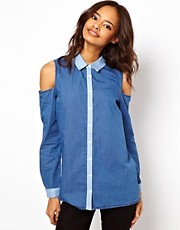 ASOS Denim Shirt with Cold Shoulder Detail and Contrast Placket