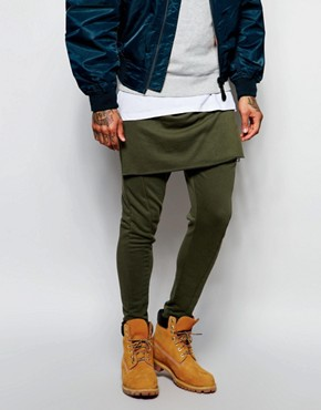 ASOS Drop Crotch Joggers With Layering In Khaki