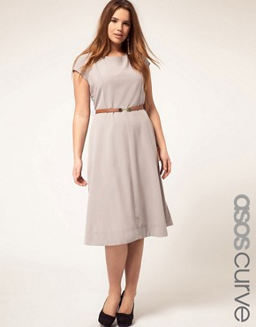 Image 1 ofASOS CURVE Midi Dress With Belt