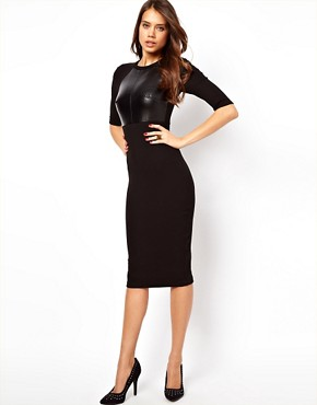 Image 1 ofASOS Bodycon Dress with PU Panel