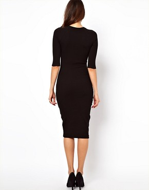 Image 2 ofASOS Bodycon Dress with PU Panel