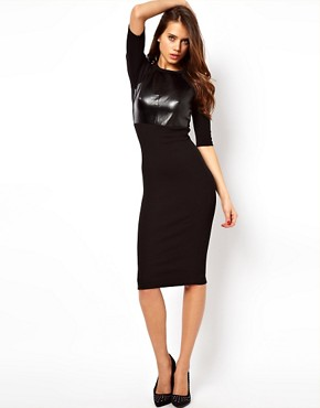 Image 4 ofASOS Bodycon Dress with PU Panel