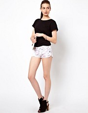 Iro Denim Mini Shorts with Multi Paint Splash Print